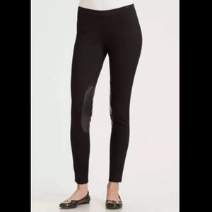 Tory Burch Pants - Tory Burch Black Leather Panel Jodhpur Leggings